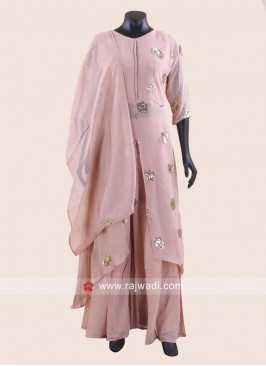Peach Chiffon Palazzo Suit for Eid
