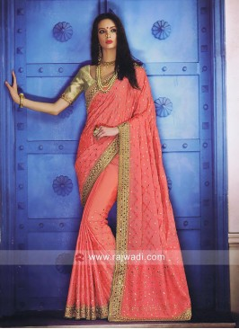 Peach Chiffon Silk Designer Saree
