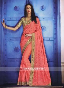 Peach Chiffon Silk Designer Saree