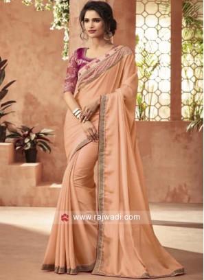 Peach Chiffon Silk Saree