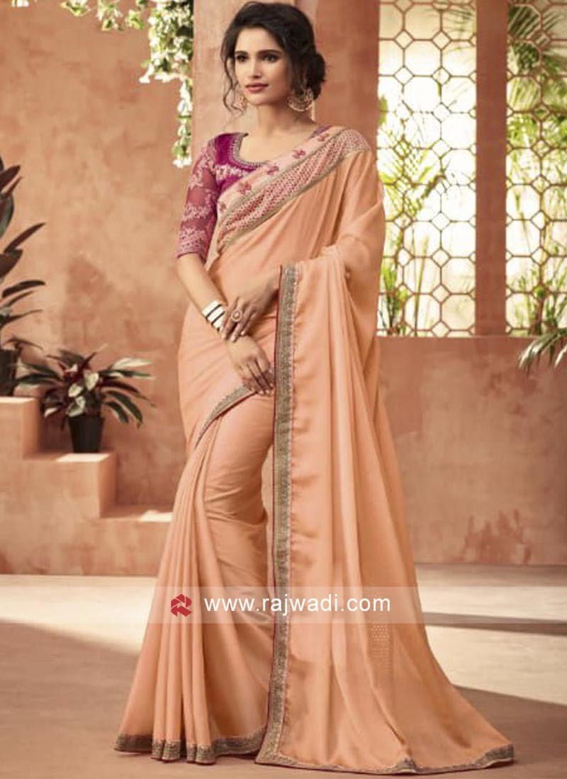 Peach Chiffon Silk Saree