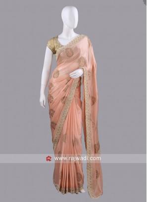 Peach Chiffon Silk Sari