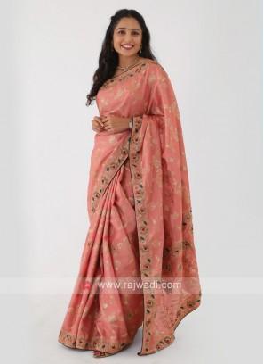 Peach Color Banarasi Shimmer Silk Saree