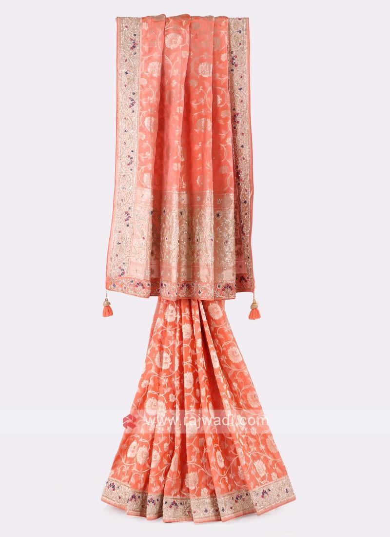 Peach Color Banarasi Silk Saree