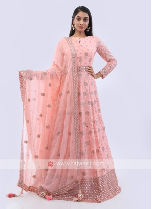 Peach color chiffon anarkali suit
