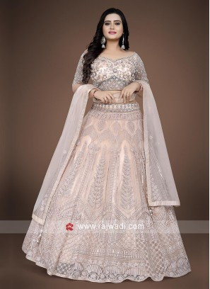 Peach color choli suit with matching dupatta