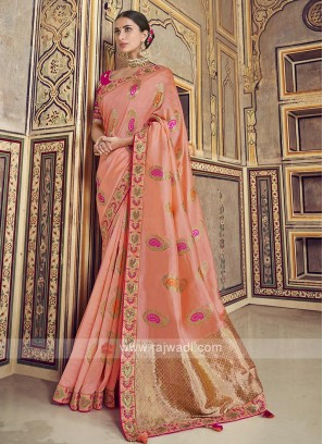 Peach Color Dola Silk Saree
