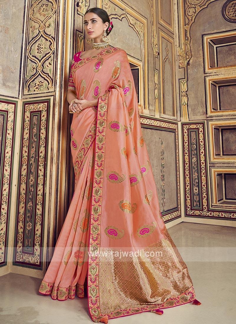 Peach Color Dola Silk Saree