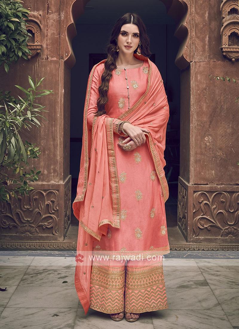 Peach Color Dress Material