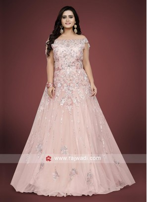 Peach Color Floor length gown.