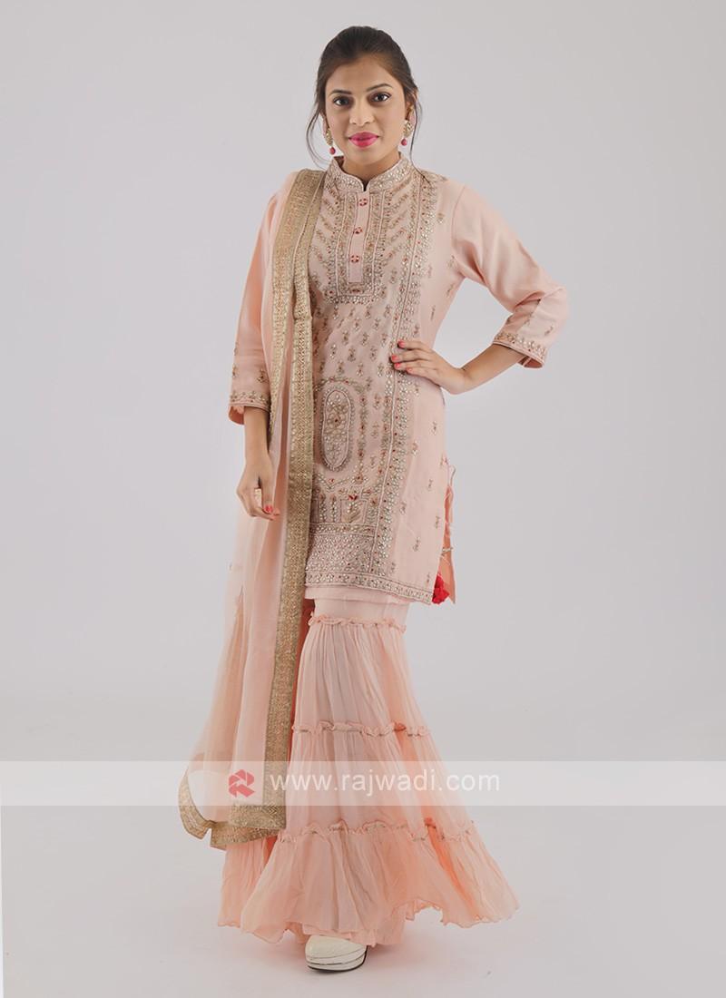 Peach Color Gharara Suit