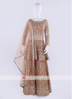 Peach color Gharara Suit with dupatta