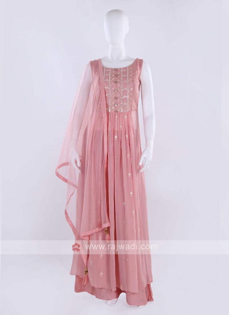 Peach color Gharara Suit with dupatta