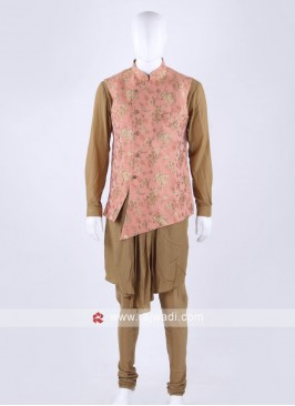 Peach color nehru jacket