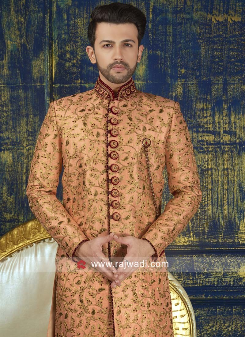 Peach Color Indo Western With Fancy Broach