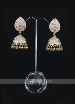 Peach Color Jhumka Earrings
