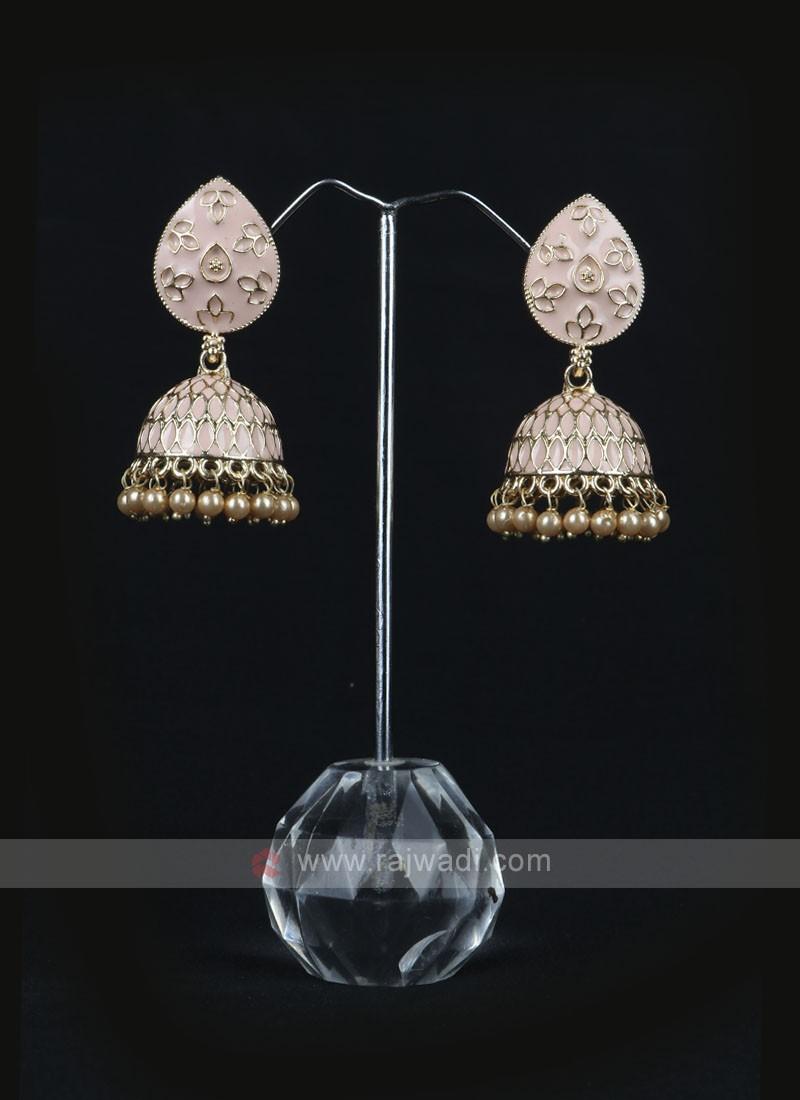 Peach Color Jhumka Earrings