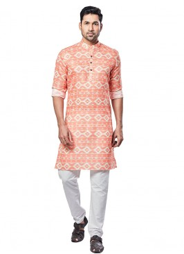 Printed Peach Color Kurta Pajama