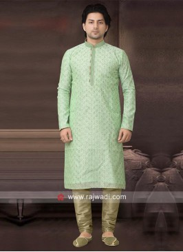 Light Green Kurta Pajama With Stylish Buttons