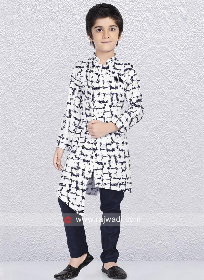 Cotton Silk Kurta Set For Kids