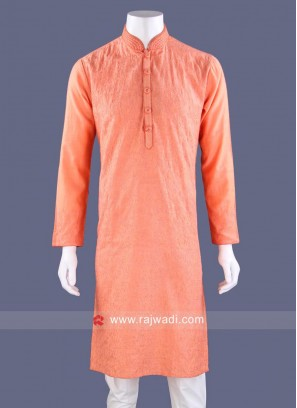 Peach Color Kurta Pajama With Stylish Buttons