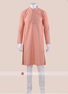 Peach Color Kurta Set For Wedding