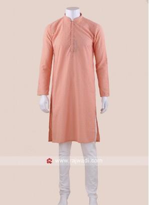 Peach Color Kurta Set For Wedding