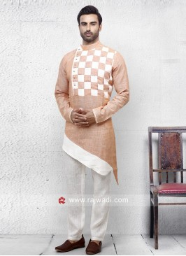Peach Color Linen Pathani Set