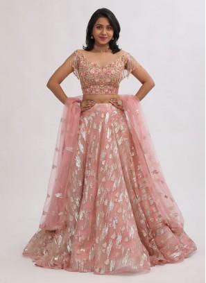 Peach Color Net Choli Suit
