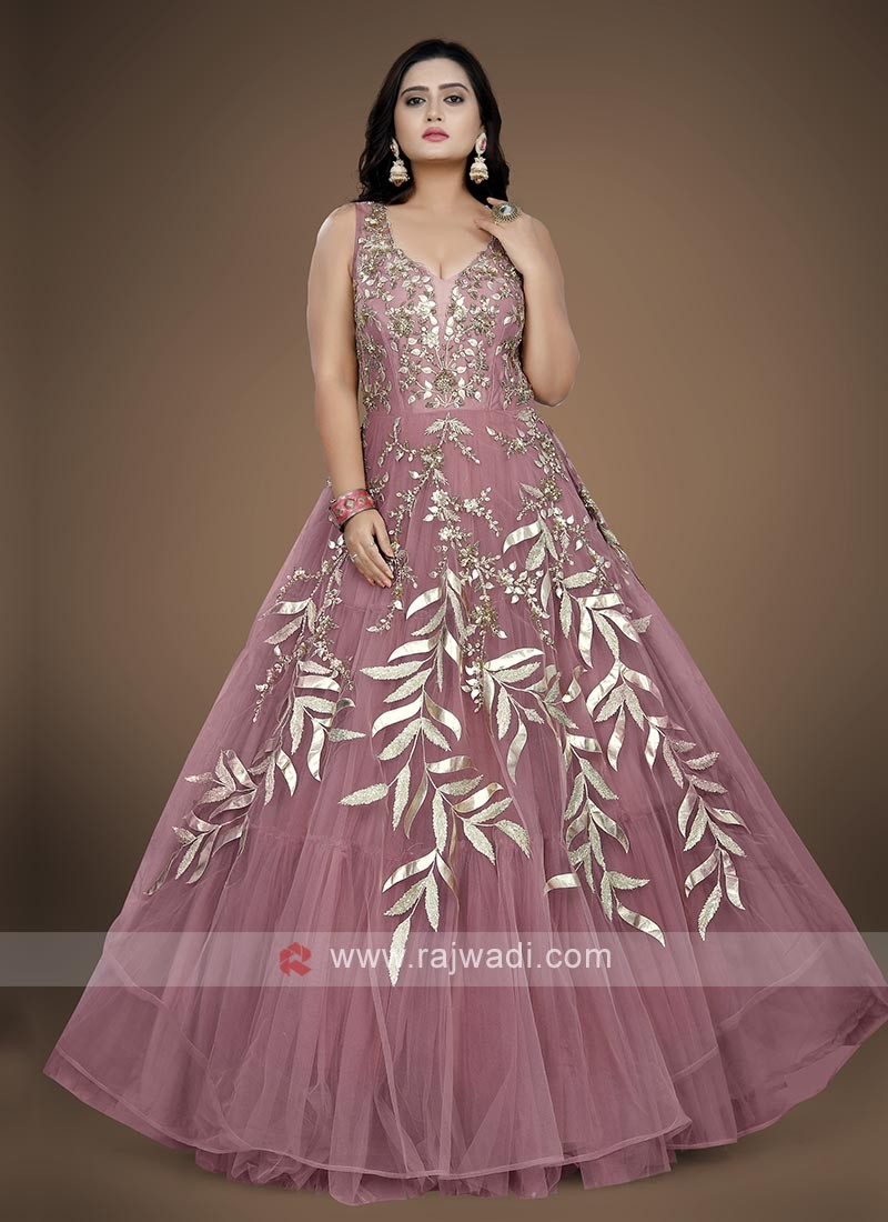 Dusty rose pink color net fabric gown