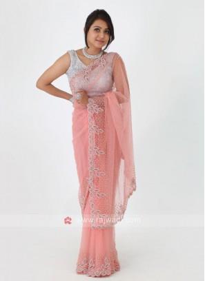 Peach Color Net Fabric Saree