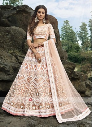 Peach Color Net Lehenga Choli