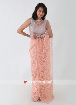 Peach Color Net Saree