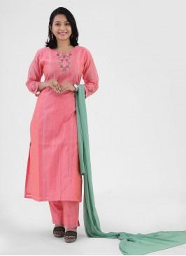 Peach Color Pant Style Salwar Suit