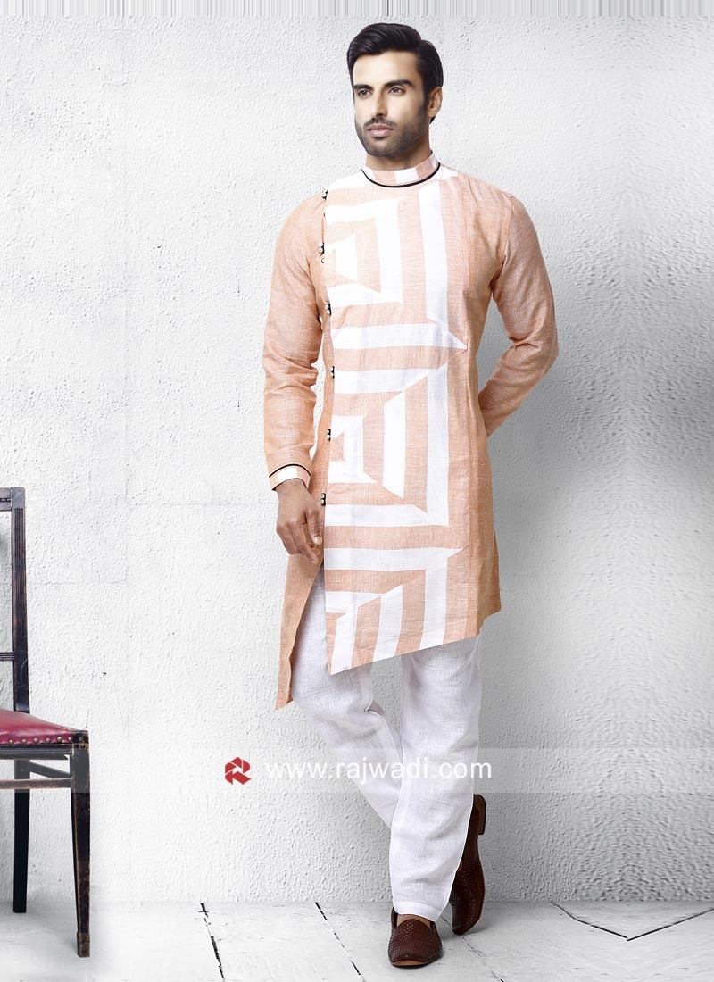 Peach Color Pathani Suit