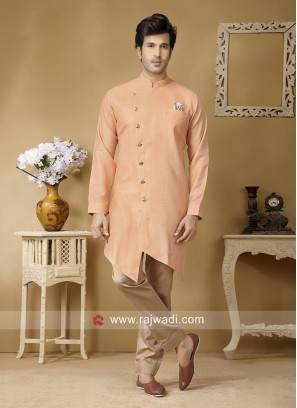 Peach Color Pathani Suit For Party