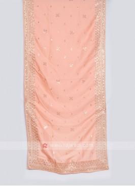 Peach Color Raw Silk Dupatta