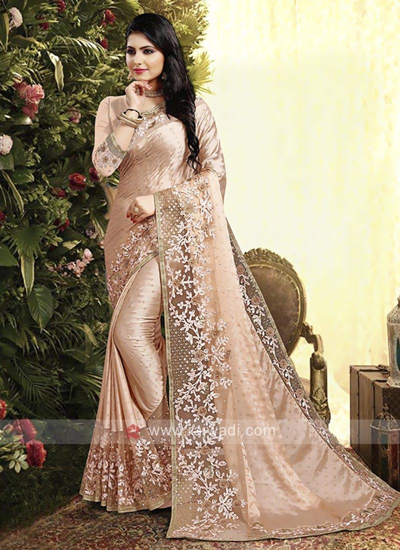 Peach Color Satin Georgette Saree