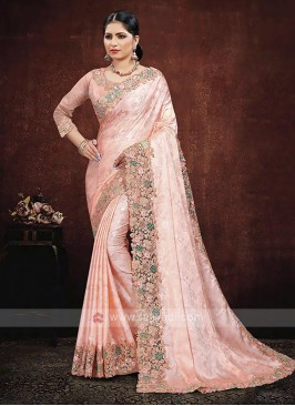 Peach Color Satin Silk Saree