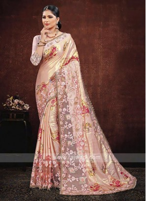 Peach Color Satin Silk Saree