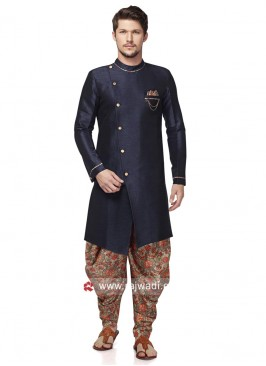Round Neck Navy Patiala Suit