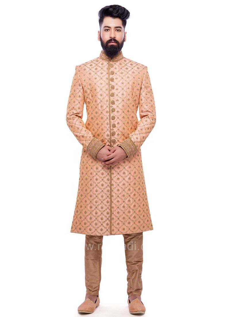 Peach Color Sherwani