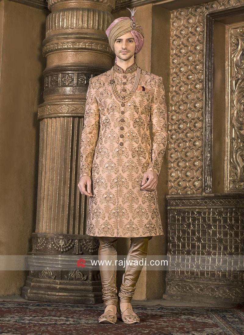 Peach Color Sherwani For Wedding