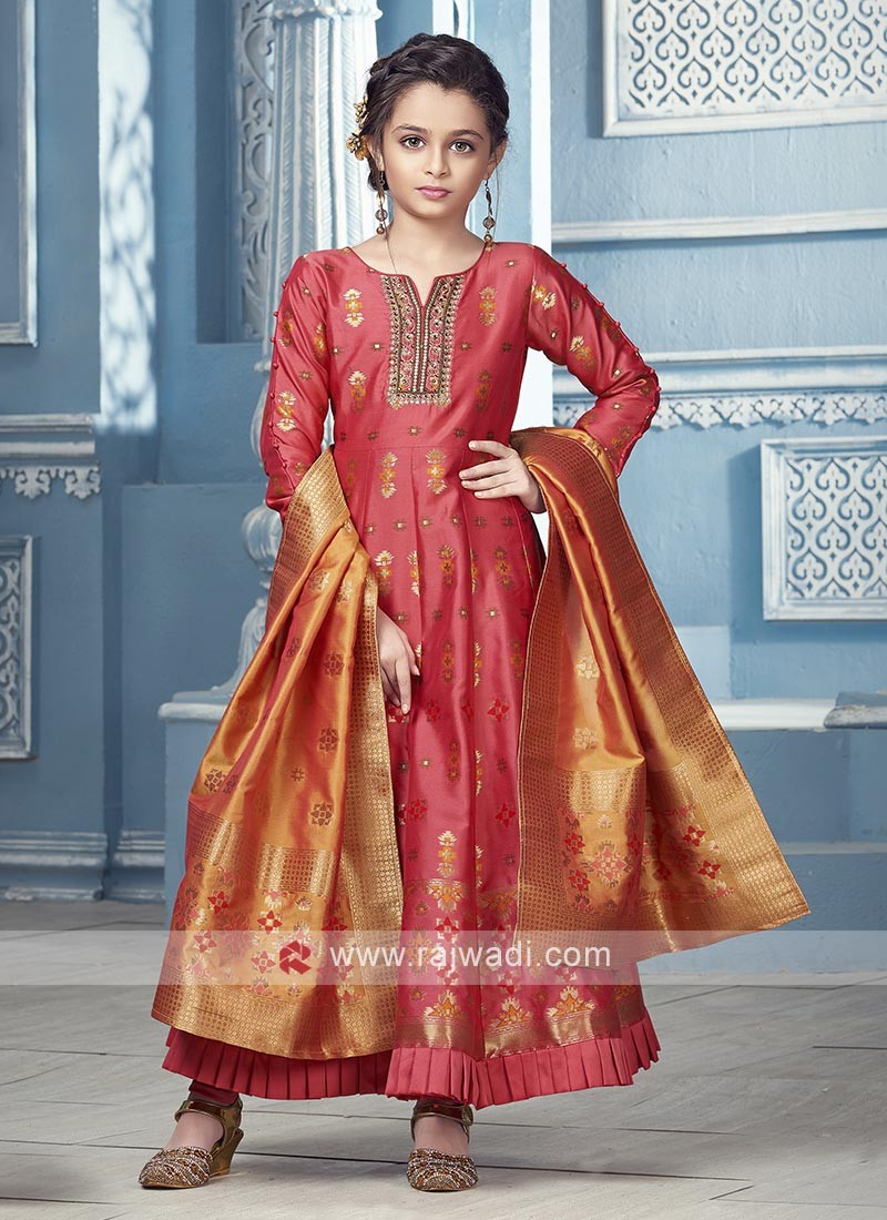 Peach Color silk dress with contrast dupatta.