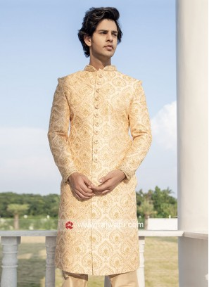 Peach Color Silk Sherwani