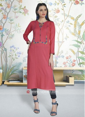 Peach Color Soft Cotton Kurti
