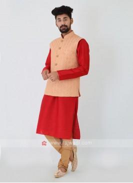 Peach Color Thread work Nehru Jacket Set.