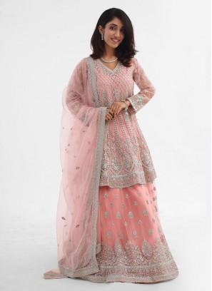 Peach Color Wedding Gharara Suit