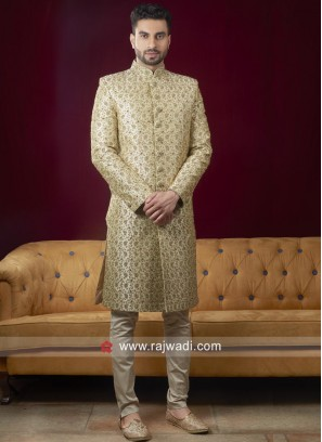 Pista Green Color Zari Work Sherwani