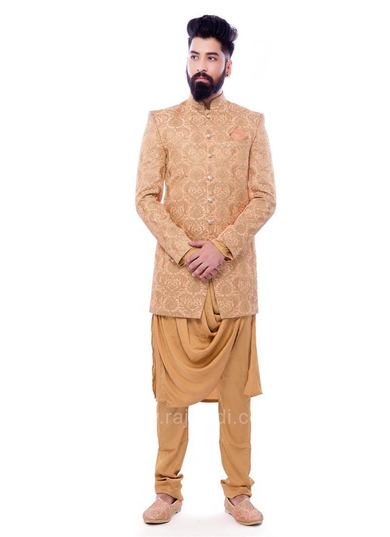 Peach Color Zari Work Indo Western